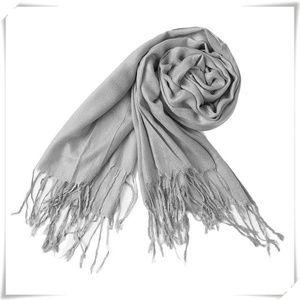 Warm Pashmina Scarf Shawl Wrap in Light Grey
